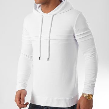 LBO - Sweat Capuche avec Empiecement 1022 Blanc