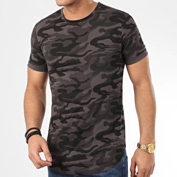 LBO - Tee Shirt Oversize Camouflage Avec Revers 1011 Noir