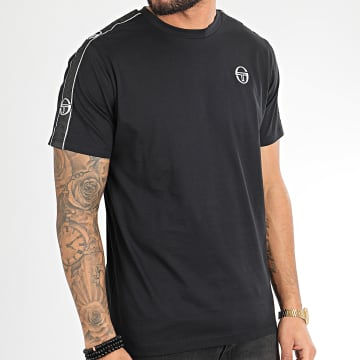 Sergio Tacchini - Tee Shirt A Bandes Feather 38536 Noir