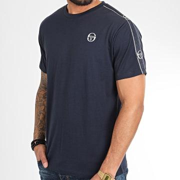 Sergio Tacchini - Tee Shirt A Bandes Feather 38536 Bleu Marine