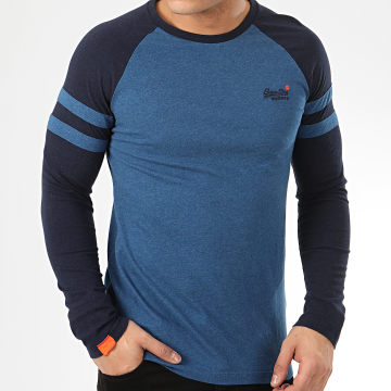 Superdry - Tee Shirt Manches Longues OL Softball Ringer M6010011A Bleu Roi Chiné Bleu Marine