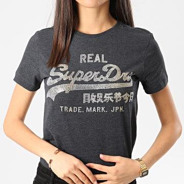 Superdry - Tee Shirt Femme Stitch Sequin Bleu Marine