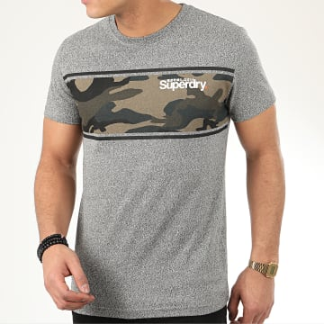 Superdry - Tee Shirt Core Logo Camo Stripe M1010084A Gris Chiné Camouflage