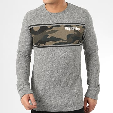 Superdry - Tee Shirt Manches Longues Core Logo Camo Stripe M6010031A Gris Chiné Camouflage