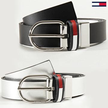 Tommy Jeans - Ceinture Réversible Corp Leather 8284 Noir Argenté