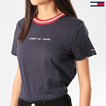 Tee Shirt Femme Contrast Rib Bleu Marine