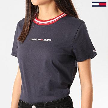 Tommy Jeans - Tee Shirt Femme Contrast Rib Bleu Marine