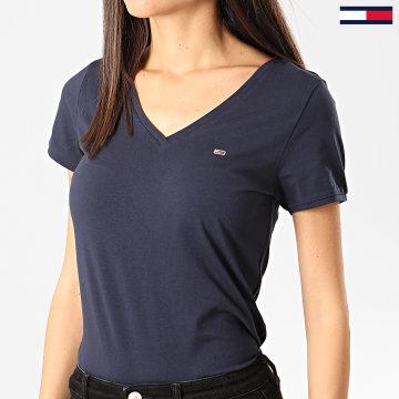 Tee Shirt Col V Femme Stretch Bleu Marine