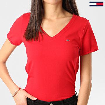 Tee Shirt Col V Femme Stretch Rouge
