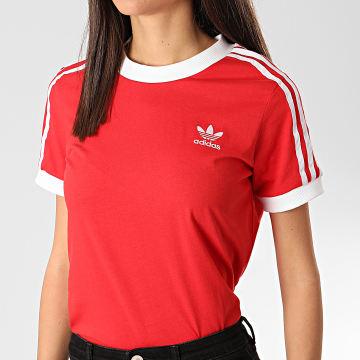 Tee Shirt Femme A Bandes FM3318 Rouge