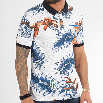 Polo Manches Courtes Mambo Blanc Chiné Floral