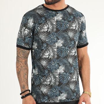 American People - Tee Shirt Makis Noir Bleu Marine Floral