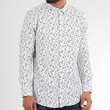 American People - Chemise Manches Longues Floral Muede Blanc