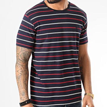 American People - Tee Shirt A Rayures Mavire Bleu Marine