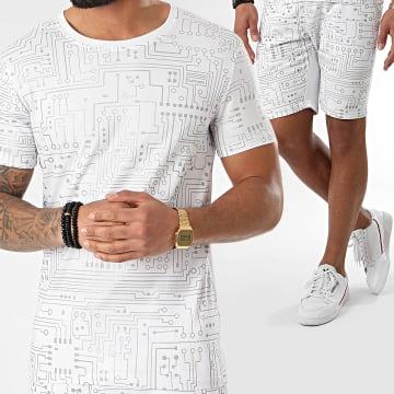 Ensemble Tee Shirt Short Jogging Réfléchissant BJ-007 Blanc