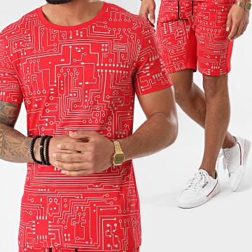 Ensemble Tee Shirt Short Jogging Réfléchissant BJ-007 Rouge