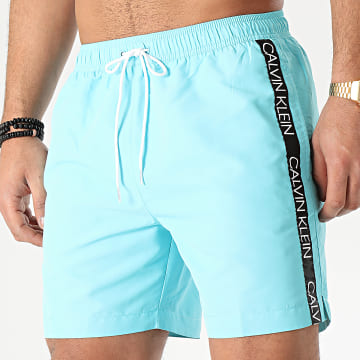 Short De Bain A Bandes Medium Drawstring 0434 Bleu Ciel