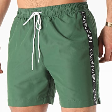 Short De Bain A Bandes Medium Drawstring 0434 Vert