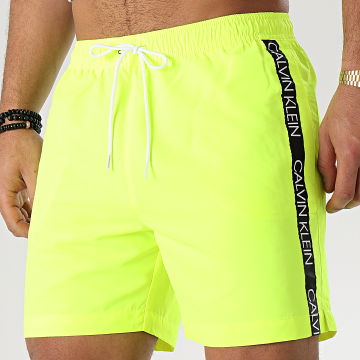 Short De Bain A Bandes Medium Drawstring 0434 Jaune Fluo