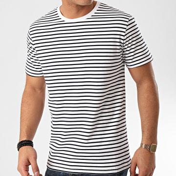 Celio - Tee Shirt Reserve Blanc Bleu Marine