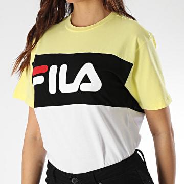 Fila - Tee Shirt Femme Allison 682125 Blanc Jaune Noir