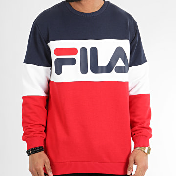 Sweat Crewneck Tricolore 688050 Straight Blocked Noir Rouge Blanc