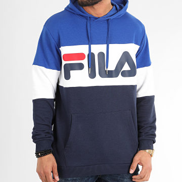 Sweat Capuche Tricolore 688051 Night Blocked Bleu Marine Bleu Roi Blanc