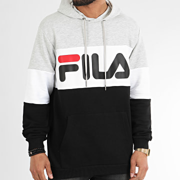 Fila - Sweat Capuche Tricolore 688051 Night Blocked Noir Gris Chiné Blanc