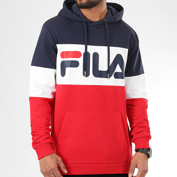 Sweat Capuche Tricolore 688051 Night Blocked Rouge Bleu Marine Blanc