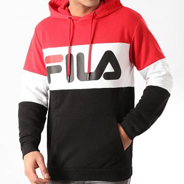 Fila - Sweat Capuche Tricolore 688051 Night Blocked Noir Rouge Blanc