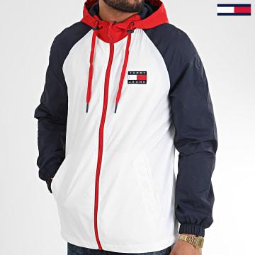 Veste Zippée Capuche Tricolore Colorblock 8096 Blanc Bleu Marine Rouge