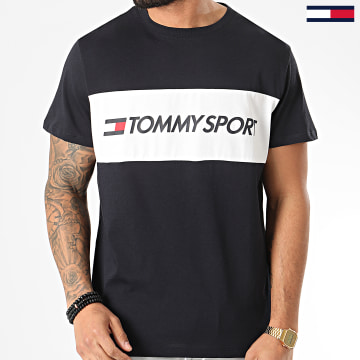 Tommy Sport - Tee Shirt Colourblock Logo Bleu Marine
