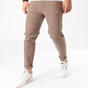 Pantalon A Carreaux 1646 Noir Camel