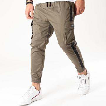 Frilivin - Pantalon Jogging A Bandes P-052 Vert Kaki