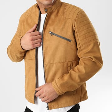 Jack And Jones - Veste Biker Suédine Rick Marron Clair