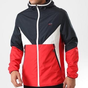 Veste Zippée Capuche Tricolore James Rouge Bleu Marine Blanc