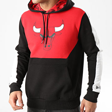 New Era - Sweat Capuche A Bandes Chicago Bulls Colorblock 1295397 Noir Rouge
