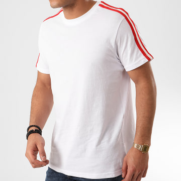 Tee Shirt A Bandes Reflect Blanc