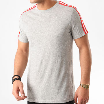 Tee Shirt A Bandes Reflect Gris Chiné