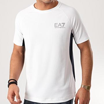 EA7 - Tee Shirt 3HPT33-PJ3DZ Blanc Bleu Marine