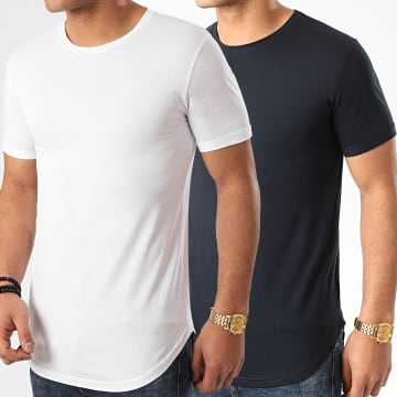 LBO - Lot de 2 Tee Shirts Oversize 1018 Bleu Marine Blanc