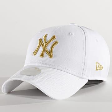 New Era - Casquette Femme 9Forty Metallic 12285202 New York Yankees Blanc Doré