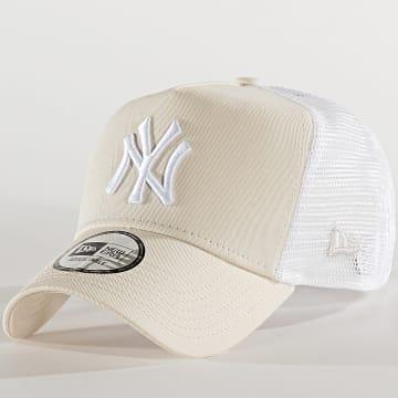 Casquette Trucker Essential A Frame 12285472 New York Yankees Beige Blanc
