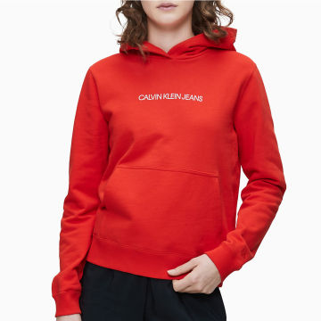 Calvin Klein - Sweat Capuche Femme Shrunken Institutional 3380 Rouge