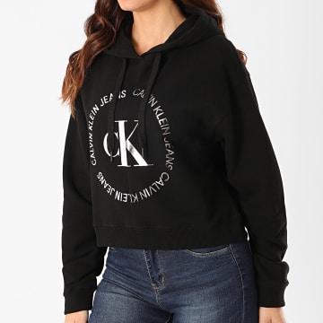 Calvin Klein - Sweat Capuche Crop Femme Round CK Blocked 3470 Noir Argenté