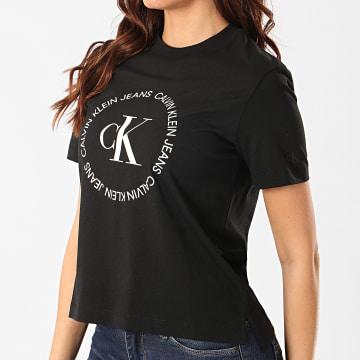 Calvin Klein - Tee Shirt Femme Round Logo 3544 Noir