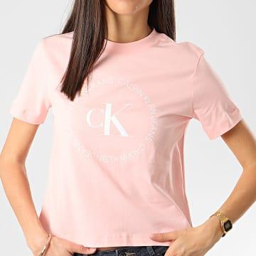 Calvin Klein - Tee Shirt Femme Round Logo 3544 Rose