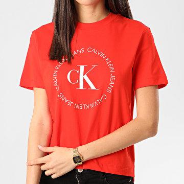 Calvin Klein - Tee Shirt Femme Round Logo 3544 Orange