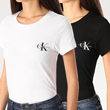 Calvin Klein - Lot De 2 Tee Shirts Femme Slim 4364 Blanc Noir