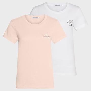 Calvin Klein - Lot De 2 Tee Shirts Slim Femme 4364 Blanc Rose